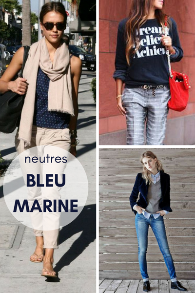 Associer bleu marine, marine et gris, marine et beige