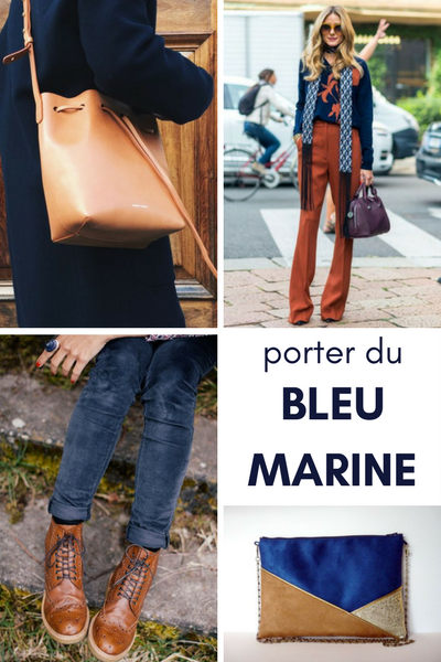 bleu marine camel, associer couleurs