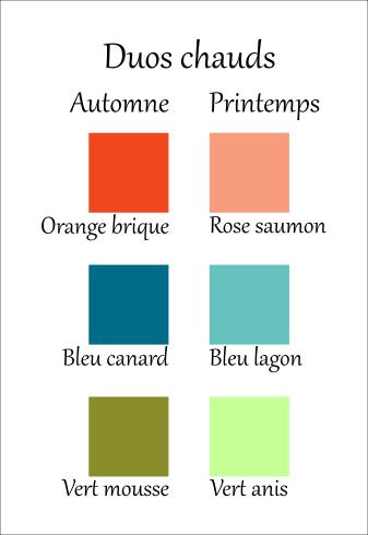 colorimétrie, couleurs chaudes, couleurs printemps, couleur automne