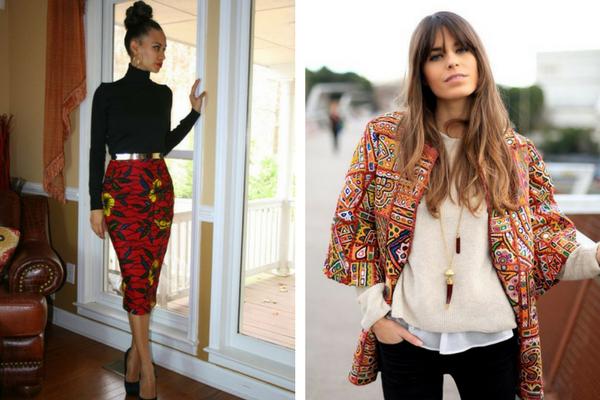 Falda impresa, chaqueta de kimono impreso, vestindo impreso