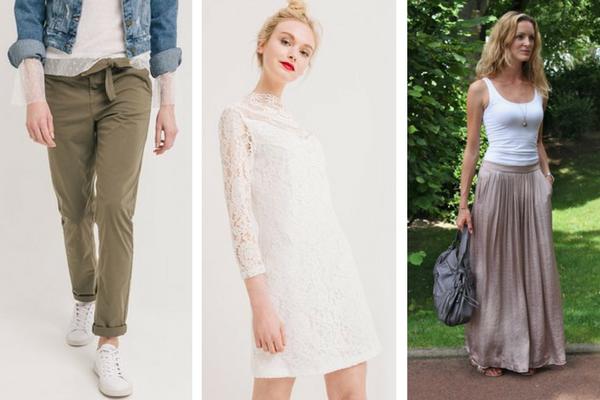 Pantalon, robe courte, jupe longue